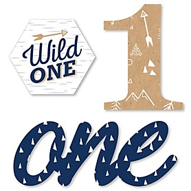 He's a Wild One - DIY Shaped 1st Birthday Party Cut-Outs - 24 ct