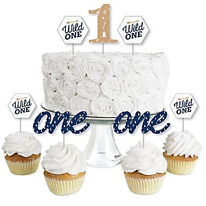 He's a Wild One - Dessert Cupcake Toppers - 1st Birthday Party Clear Treat Picks - Set of 24