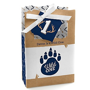 He's a Wild One - Personalized 1st Birthday Favor Boxes - Set of 12