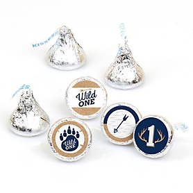 He's a Wild One - Deer 1st Birthday Party Round Candy Sticker Favors - Labels Fit Hershey's Kisses - 108 ct