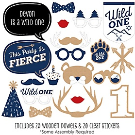 He's a Wild One - 20 Piece Deer 1st Birthday Party Photo Booth Props Kit