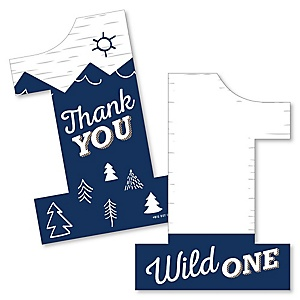 He's a Wild One - Shaped Thank You Cards - 1st Birthday Party Thank You Note Cards with Envelopes - Set of 12
