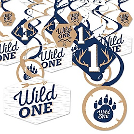 He's a Wild One - Deer 1st Birthday Party Hanging Decor - Party Decoration Swirls - Set of 40