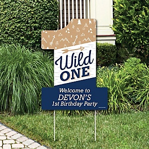He's a Wild One - Party Decorations - 1st Birthday Party Personalized Welcome Yard Sign