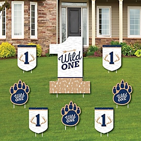 He's a Wild One - Yard Sign and Outdoor Lawn Decorations - Deer 1st Birthday Party Yard Signs - Set of 8