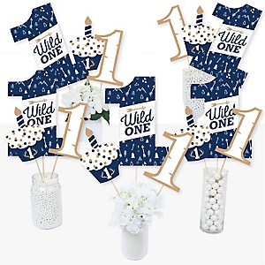 He's a Wild One - Deer 1st Birthday Party Centerpiece Sticks - Table Toppers - Set of 15