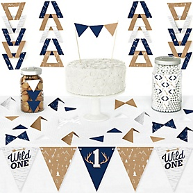 He's a Wild One - DIY Pennant Banner Decorations - Deer 1st Birthday Party Triangle Kit - 99 Pieces