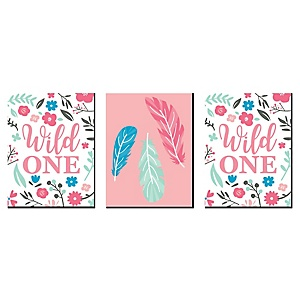 She's a Wild One - Boy Nursery Wall Art and Kids Room Decor - 7.5 x 10 inches - Set of 3 Prints
