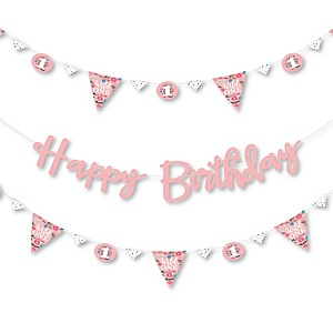 She's a Wild One - Birthday Party Letter Banner Decoration - 36 Banner Cutouts and Happy Birthday Banner Letters
