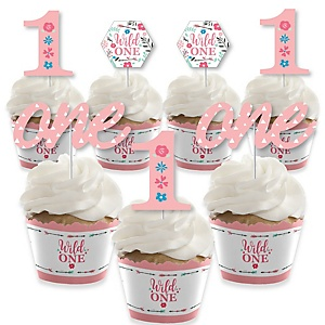 She's a Wild One - Cupcake Decoration - Boho Floral 1st Birthday Party Cupcake Wrappers and Treat Picks Kit - Set of 24