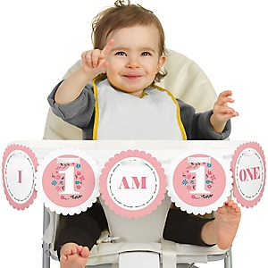 She's a Wild One 1st Birthday - I Am One - First Birthday High Chair Banner