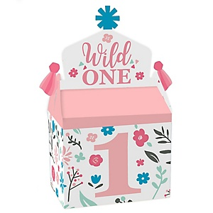 She's a Wild One - Treat Box Party Favors - Boho Floral 1st Birthday Party Goodie Gable Boxes - Set of 12