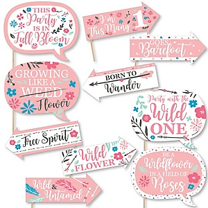 Funny She's a Wild One - 10 Piece Boho Floral 1st Birthday Party Photo Booth Props Kit