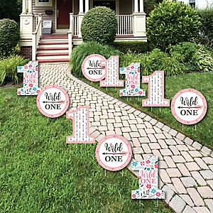 She's a Wild One - Lawn Decorations - Outdoor Boho Floral 1st Birthday Party Yard Decorations - 10 Piece