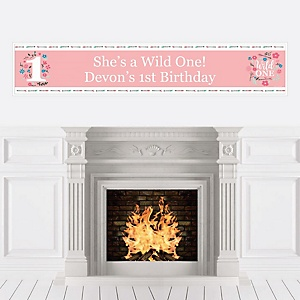 She's a Wild One - Personalized Boho Floral 1st Birthday Party Banner