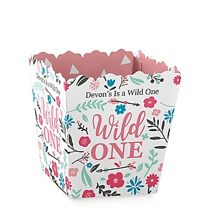 She's a Wild One - Party Mini Favor Boxes - Personalized Boho Floral 1st Birthday Party Treat Candy Boxes - Set of 12