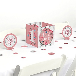 She's a Wild One - Boho Floral 1st Birthday Party Centerpiece & Table Decoration Kit
