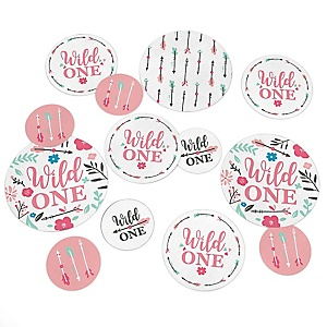 She's a Wild One - Boho Floral 1st Birthday Party Giant Circle Confetti - Party Decorations - Large Confetti 27 Count