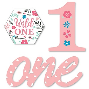 He's a Wild One - DIY Shaped Boho Floral 1st Birthday Party Cut-Outs - 24 ct