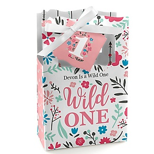 She's a Wild One - Personalized Boho Floral 1st Birthday Favor Boxes - Set of 12