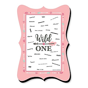 She's a Wild One - Unique Alternative Guest Book - Boho Floral 1st Birthday Party Signature Mat