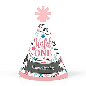 She's a Wild One - Personalized Mini Cone Boho Floral 1st Birthday Party Hats - Small Little Party Hats - Set of 10