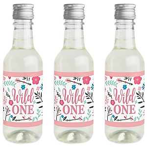 She's a Wild One - Mini Wine and Champagne Bottle Label Stickers - Boho Floral 1st Birthday Party Favor Gift - For Women and Men - Set of 16