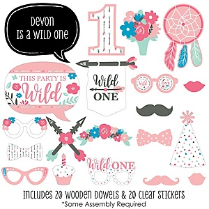 She's a Wild One - 20 Piece Boho Floral 1st Birthday Party Photo Booth Props Kit