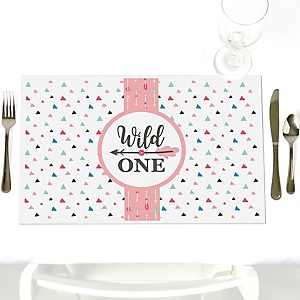 She's a Wild One - Party Table Decorations - Boho Floral 1st Birthday Party Placemats - Set of 12
