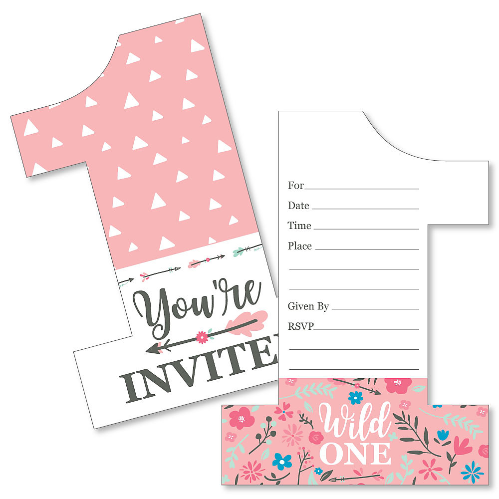 She S A Wild One Shaped Fill In Invitations Boho Fl 1st Birthday Party Invitation Cards With Envelopes Set Of 12