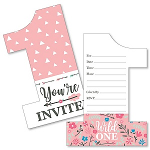 She's a Wild One - Shaped Fill-In Invitations - Boho Floral 1st Birthday Party Invitation Cards with Envelopes - Set of 12