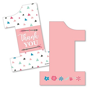 She's a Wild One - Shaped Thank You Cards - Boho Floral 1st Birthday Party Thank You Note Cards with Envelopes - Set of 12
