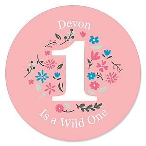 She's a Wild One - Personalized Boho Floral 1st Birthday Party Sticker Labels - 24 ct