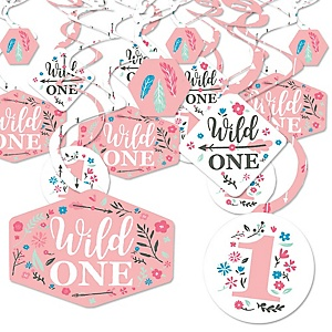 She's a Wild One - Boho Floral 1st Birthday Party Hanging Decor - Party Decoration Swirls - Set of 40