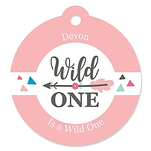 She's a Wild One - Round Personalized Boho Floral 1st Birthday Tags - 20 ct