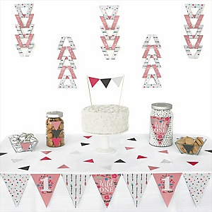 She's a Wild One - Triangle Boho Floral 1st Birthday Decoration Kit - 72 Piece