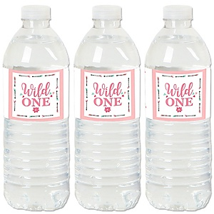 She's a Wild One - Boho Floral 1st Birthday Party Water Bottle Sticker Labels - Set of 20