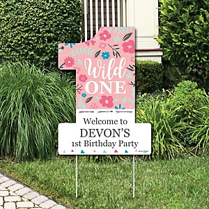 She's a Wild One - Party Decorations - Boho Floral 1st Birthday Party Personalized Welcome Yard Sign
