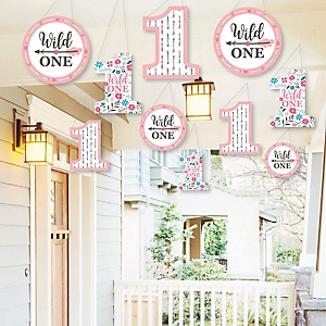 Hanging She's a Wild One - Outdoor Boho Floral 1st Birthday Party Hanging Porch and Tree Yard Decorations - 10 Pieces