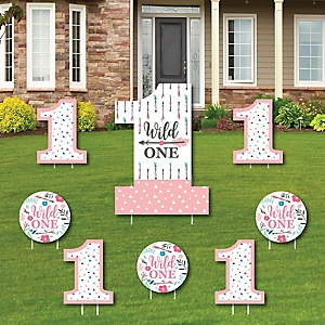 She's a Wild One - Yard Sign and Outdoor Lawn Decorations - Boho Floral 1st Birthday Party Yard Signs - Set of 8