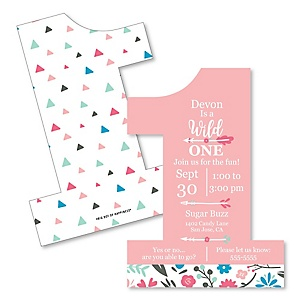 She's a Wild One - Shaped Birthday Party Invitations - Set of 12