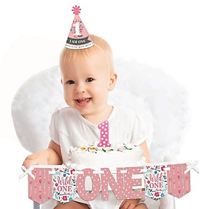 She's a Wild One Boho Floral 1st Birthday - First Birthday Girl Smash Cake Decorating Kit - High Chair Decorations
