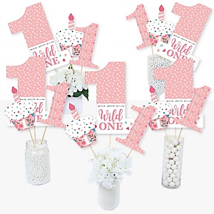 She's a Wild One - Boho Floral 1st Birthday Party Centerpiece Sticks - Table Toppers - Set of 15