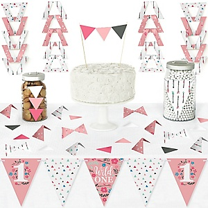 She's a Wild One - DIY Pennant Banner Decorations - Boho Floral 1st Birthday Party Triangle Kit - 99 Pieces