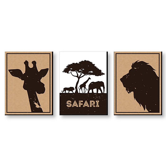 Wild Safari - Jungle Animal Nursery Wall Art, Kids Room Decor & Home Decorations - 7.5 x 10 inches - Set of 3 Prints