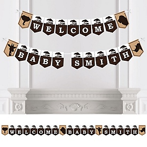 Wild Safari - Personalized African Jungle Adventure Baby Shower Bunting Banner & Decorations