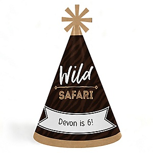 Wild Safari - Personalized Cone African Jungle Adventure Happy Birthday Party Hats for Kids and Adults - Set of 8 (Standard Size)