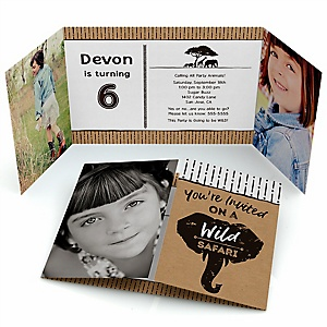 Wild Safari - Personalized African Jungle Adventure Birthday Party Photo Invitations - Set of 12