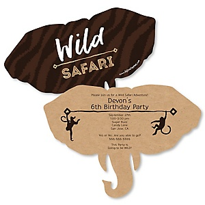 Wild Safari - Shaped African Jungle Adventure Birthday Party Invitations - Set of 12
