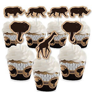Wild Safari - Cupcake Decoration - African Jungle Adventure Birthday Party or Baby Shower Cupcake Wrappers and Treat Picks Kit - Set of 24
